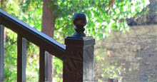 Black Handrail With Upgraded Aluminum Fence Post With Ball Cap
