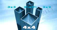 Direct Mount Aluminum Posts in a variety of sizes: 4x4, 3x3, 2.5x2.5, 2x2
