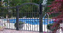 Black Aluminum Pool Fencing With Arched Single Gate