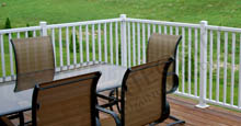 White Aluminum Fence Panels Attached to Backyard Deck