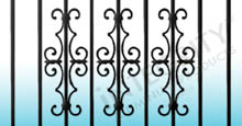 Black Aluminum Fencing With Estate Scrolls On Vertical Pickets