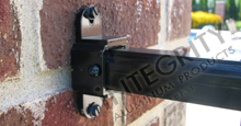 Stationary Rail Mounting Bracket For Aluminum Fence Panels Installed On Brick