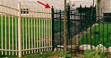 Mission Point Residential Aluminum Fence In Beige and Black With Three Way Aluminum Fence Post