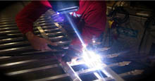Aluminum Gates Being Welded Together To The Size Of Customers Request