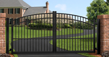 Black San Marino Aluminum Gate With Stonecliff Sunrise Gate Arch