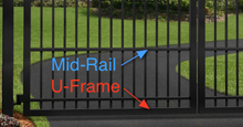 Mid-Rail and U-Frame Driveway Gate Options