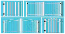 Four Different Residential Gate Configurations: Regal Wave Arch, Stonecliff Sunrise Arch, Horizon Straight Gate, Stonecliff Sunset Arch