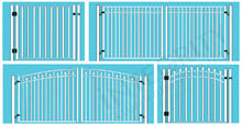 Four Metal Pool Gate Configurations: Single or double, and Standard or Arched
