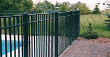 San Marino Aluminum Pool Fencing Between Concrete Landing and Brick Paver Walkway