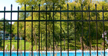 Bella Terra Black Metal Pool Fence Panels With Staggered Height Flat Finials