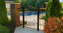 Bella Vista Black Metal Pool Fence Panels and Gate With Flat Finials