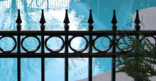 Camelot Black Metal Pool Fence Panels With Decorative Finials and Optional Circle Enhancements