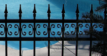 Castile Aluminum Pool Fencing With Decorative Finials and Butterfly Scrolls