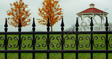 Castile Black Metal Pool Fence Panels with Decorative Finials and Butterfly Scrolls
