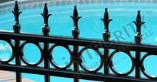 Providence Aluminum Pool Fencing With Historic Fleur de Lis Finials and Decorative Circles