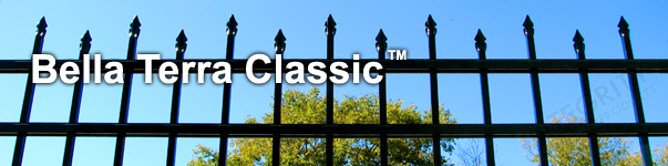 Bella Terra Ornamental Residential Fence With Staggered Height Flat Finials