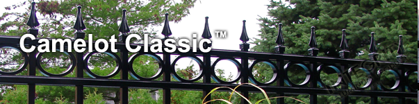 Camelot Ornamental Residential Fence With Decorative Finials and Circle Enhancements