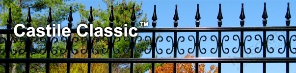 Castile Ornamental Residential Fence With Decorative Finials and Butterfly Scrolls