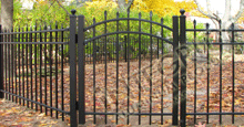 Bella Terra Black Metal Residential Fence Panels With Staggered Height Flat Finials