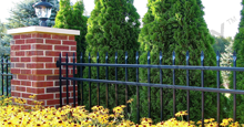 Bella Vista Black Metal Residential Fence Panels and Gate With Flat Finials