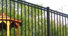Boca Grande Black Metal Residential Fence Panels and Gate