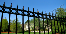 Camelot Aluminum Commercial Fencing With Decorative Gold Finials and Circle Enhancements