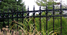 Camelot Black Metal Commercial Fence Panels With Decorative Finials and Optional Circle Enhancements