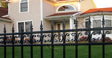 Castile Aluminum Commercial Fencing With Decorative Finials and Butterfly Scrolls