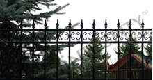 Castile Black Metal Industrial Fence Panels with Decorative Finials and Butterfly Scrolls