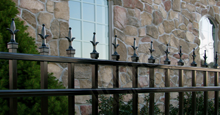 Charlemagne Black Metal Residential Fence Panels With Decorative Historic Fleur de Lis Finials