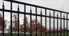 Excelsior Aluminum Industrial Fencing With Contemporary Finials