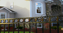 Napa Valley Black Metal Commercial Fence Panels With Decorative Circles