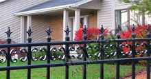 Valencia Aluminum Industrial Fencing With Historic Fleur de Lis Finials and Butterfly Scrolls