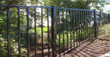 Ventura Black Metal Commercial Fence Panels and Gate