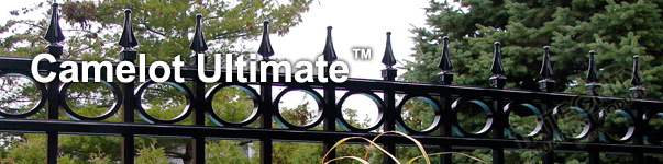 Camelot Ornamental Industrial Fence With Decorative Finials and Circle Enhancements