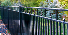 Black Aluminum Residential Sanibel Fence Panels Installed With Additional Vertical Pickets
